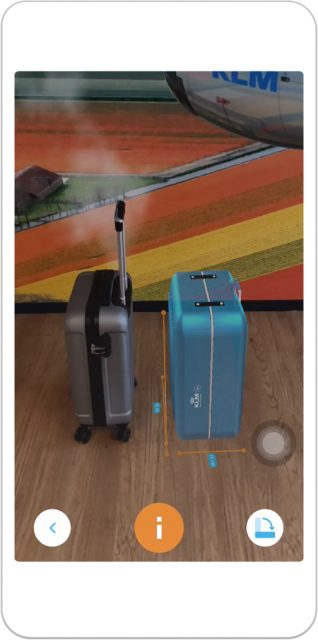 The KLM Augmented Reality Baggage Size Check app