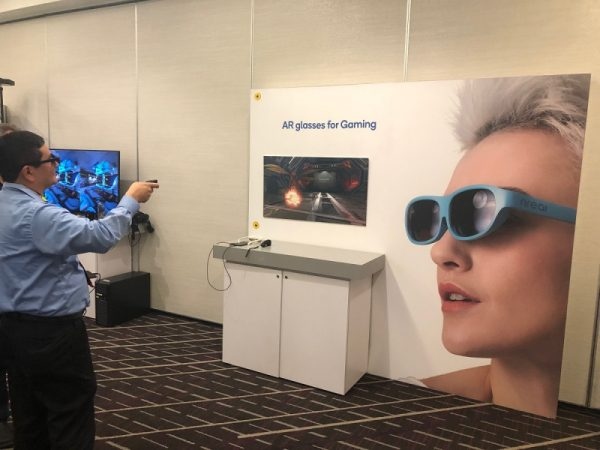 Demo of a Qualcomm based AR solution with an AR headset connected to a smartphone