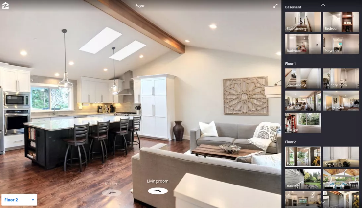 Zillow 3D Home Tool allows real estate agents to display immersive views of their property listings. Viewers can click the arrows at the button and navigate from room to room in 360-degree view.