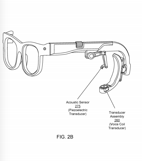 A patent illustration detailing the glasses audio system