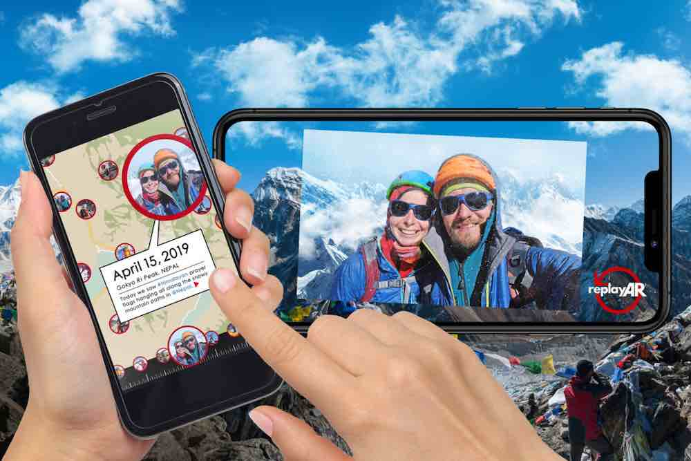 """What if you could go back to a place you visited long ago and see it exactly as it was? ReplayAR is a """"global time capsule"""" that uses patented augmented reality (AR) technology to geocache personal experiences and then project those memories on the real-life locations where they actually happened. (PRNewsfoto/ReplayAR, Inc.)"""