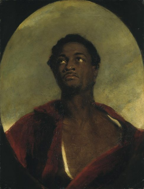 Head of a Man (?Ira Frederick Aldridge) exhibited 1827 by John Simpson 1782-1847
