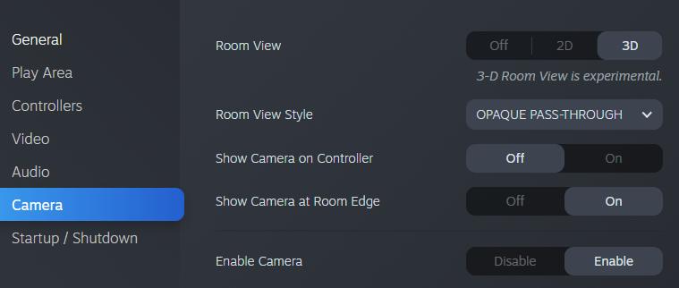 SteamVR 3D Room View Settings Tab
