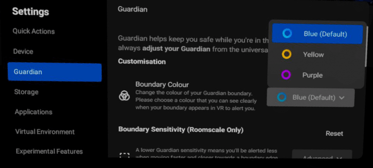 Guardian Color Options in the Guardian Tab