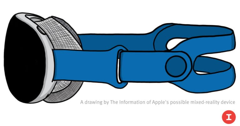 A rendering of Apple mixed reality device